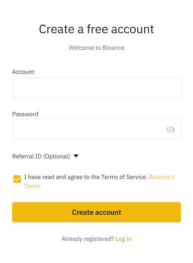 To start trading or use the platform, traders need to Create a Binance account